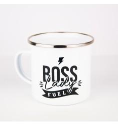 Emajlirana šalica s natpisom Boss