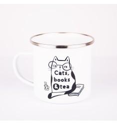 Emajlirana šalica s natpisom Cats